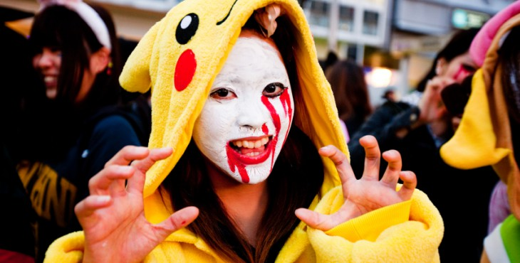Group of Young People celebrating Halloween on Tokyo Street