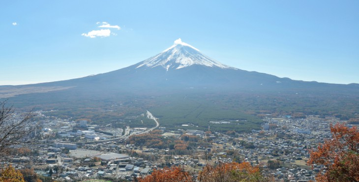 Mount fuji and city in yamanashi japan