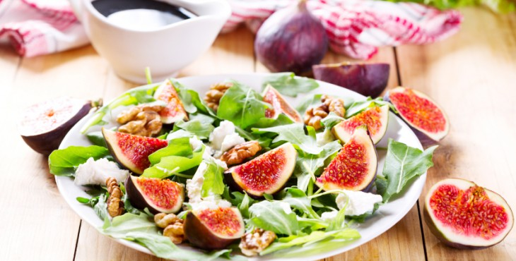 plate of salad with fresh figs