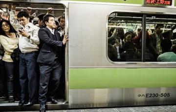 Crowded subway Tokyo Japan