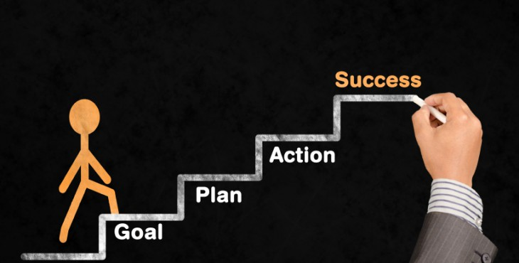 Drawing ladder of success in blackboard