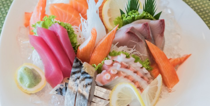 An assortment of sliced raw fish