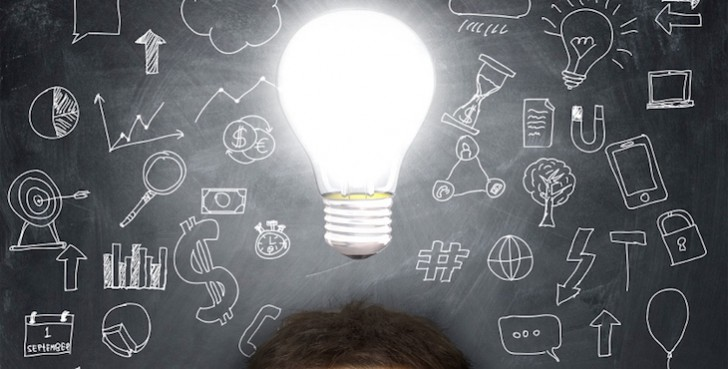 man with a light bulb over his head