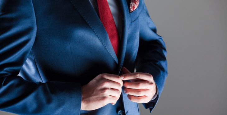 Male elegance, businessman wearing navy blue suit