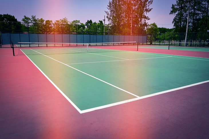 green tennis court sport background, image used retro filter