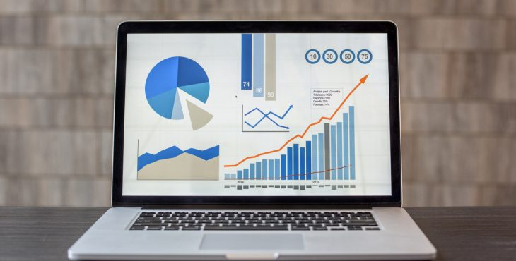 Laptop with some business graphs at the office showing sales development and growth